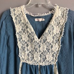 Altar'd State Dresses - Altar'd State • Blue Lace Long Sleeve Dress
